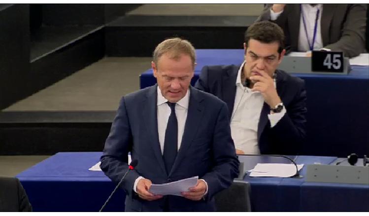 Greek PMAlexis Tsipras & EU Council PresidentDonald Trusk in the European Parliament