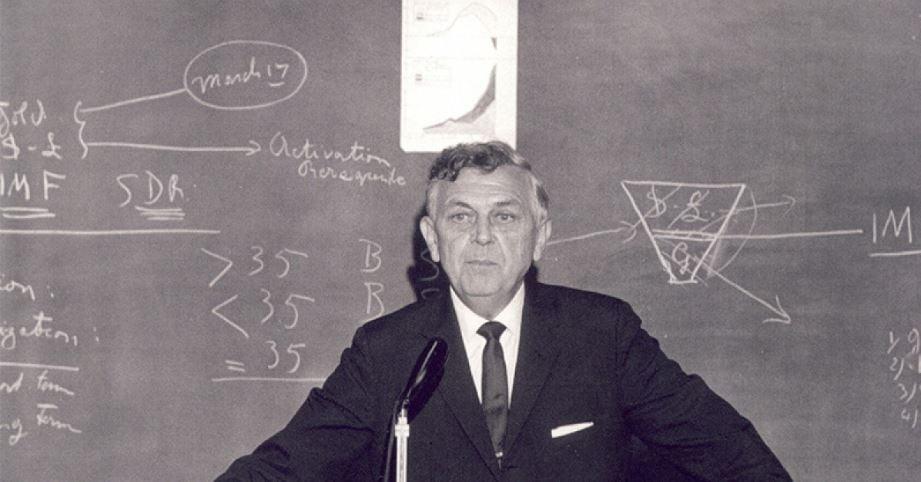 Image: Robert Triffin (1911-1993), influiential adviser on original European Payments Union. Via  https://www.c2dh.uni.lu/