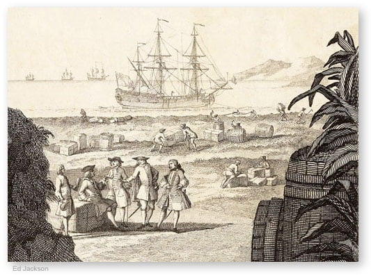 Image from  Georgia Studies Images  depicting 18th century colonial mercantilism
